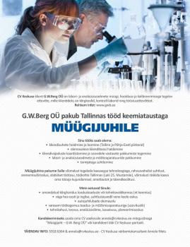 Pakume tööd keemiataustaga müügijuhile Tallinnas